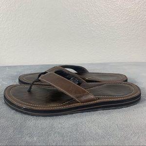 Teva Black River Brown Men's Leather Flip Flops 14